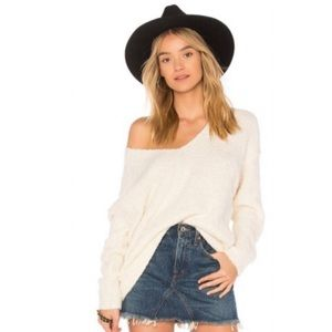 Free People Lofty V Neck Pullover Sweater Cream S